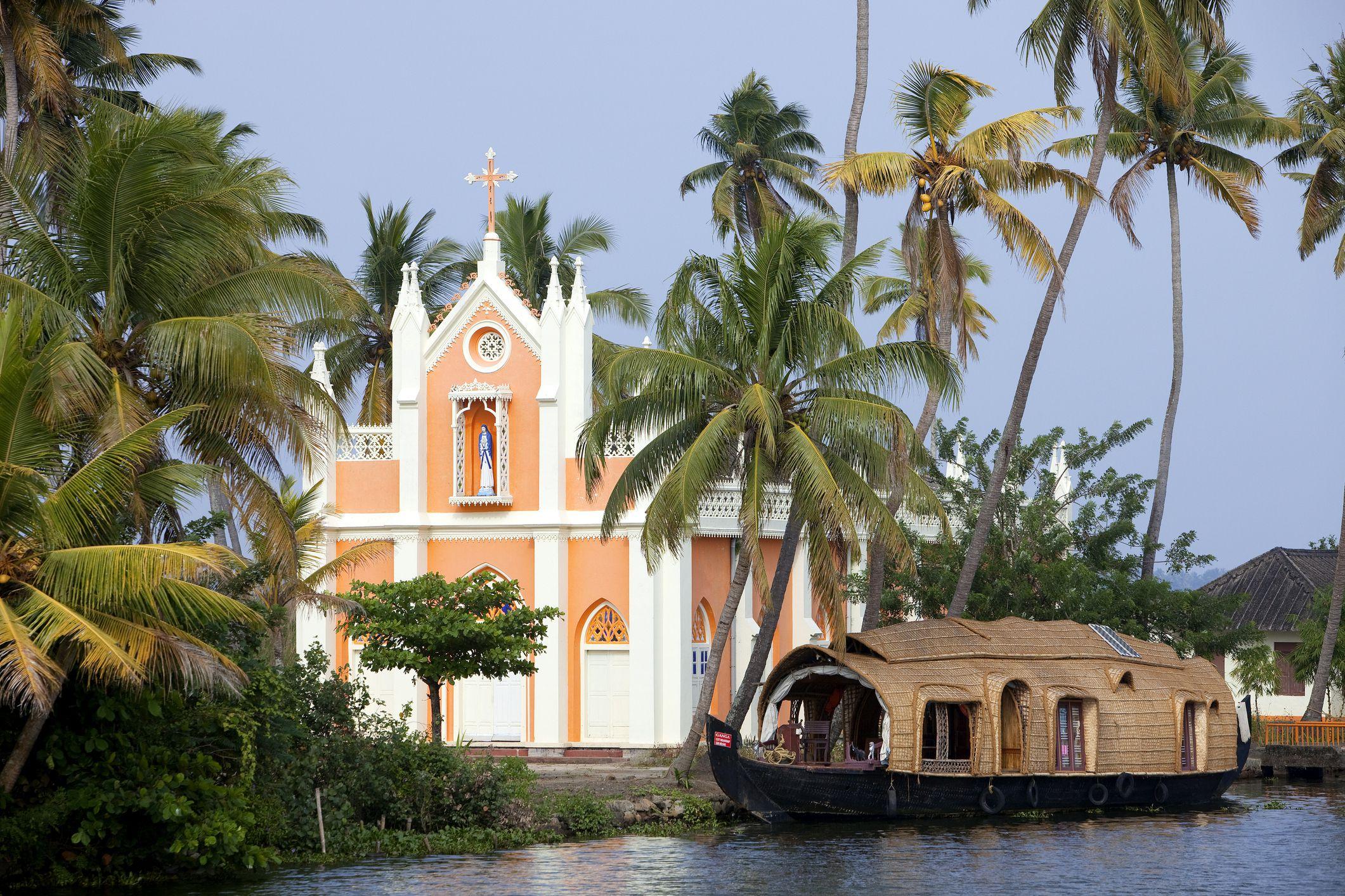 Kerala backwaters church.