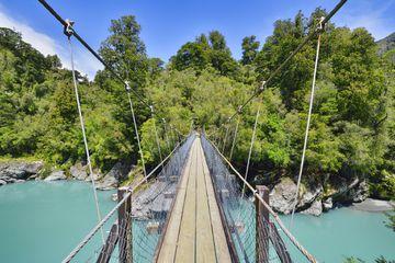 Suspension Bridge over Whitcombe River in Hokitika Gorge. Whitcombe River, Hokitika Gorge, West Coast, South Island New Zealand, New Zealand, Australasia.