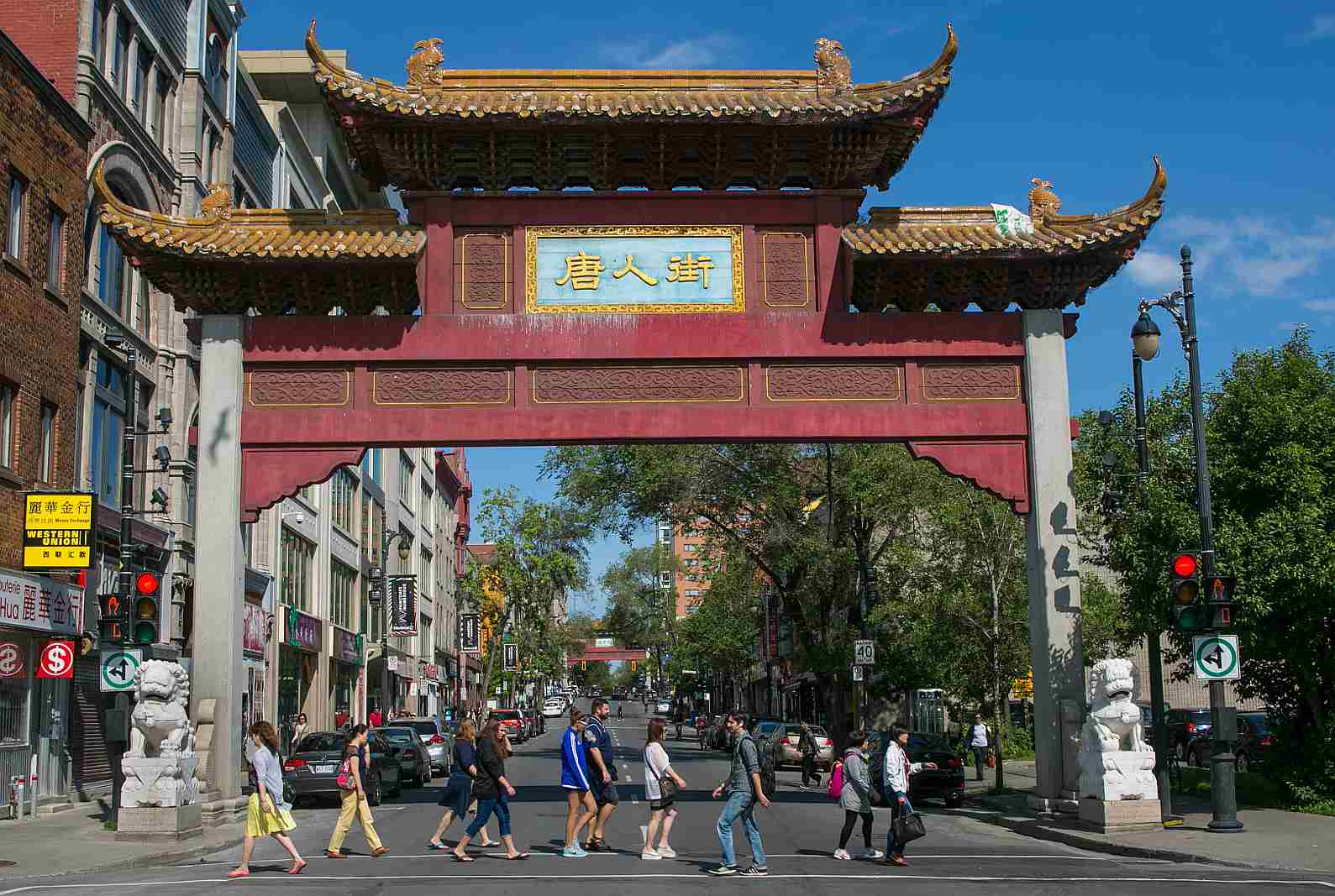 Montreal Chinatown city limits are delineated by four friendship arches.