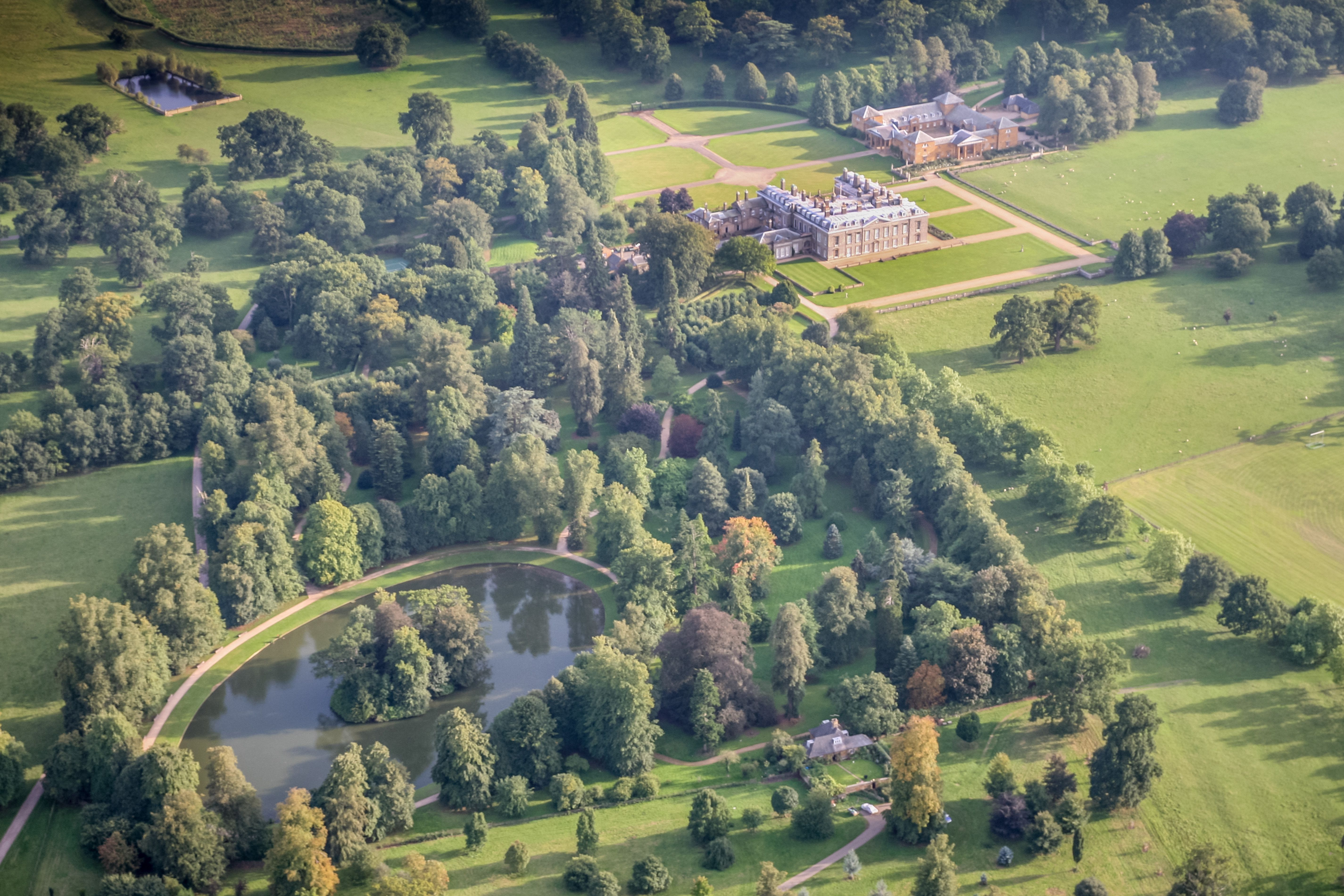 Aerial View of Althorp House and the burial site of Diana, Princess of Wales