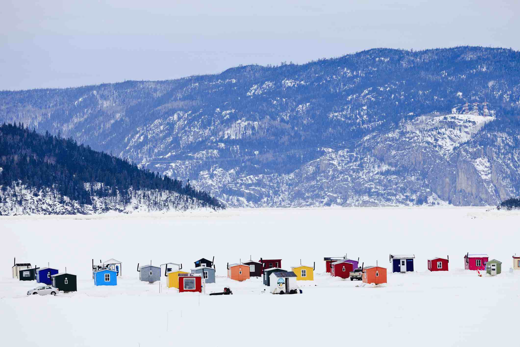 Ice Fishing Huts On Saguenay River, Quebec, Canada