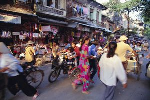 Pedestrian traffic in Old Quarter, Hanoi, Vietnam