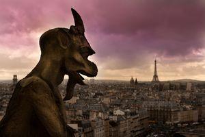 A gargoyle overlooking Paris, France