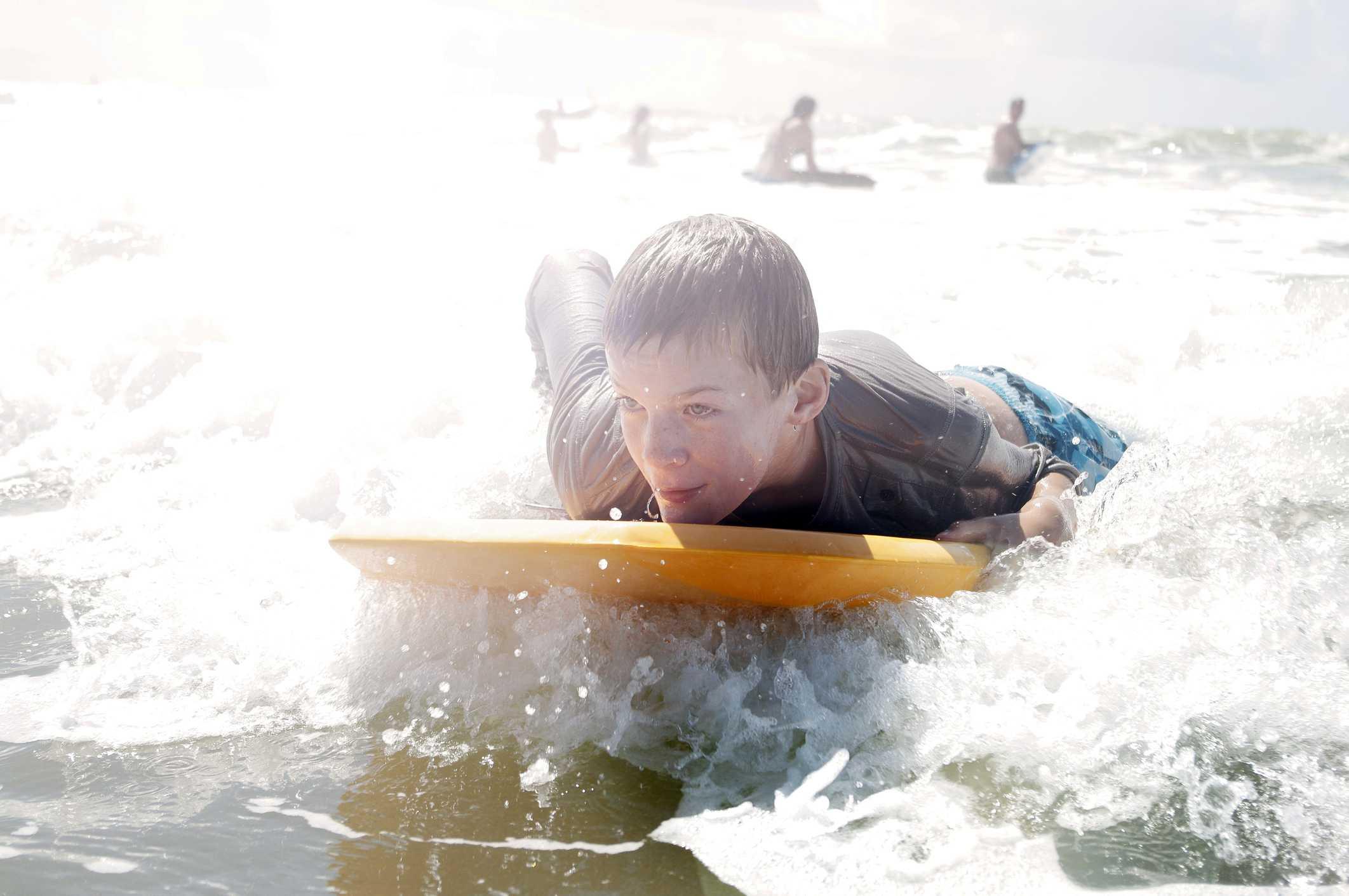 Body boarding in the ocean