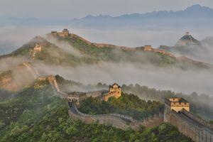 Fog along Great Wall China, Jinshanling