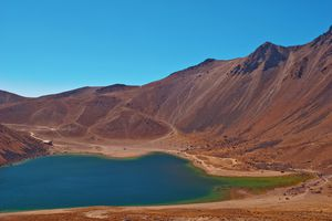 Tranquil lake at the top of Nevado de Toluca