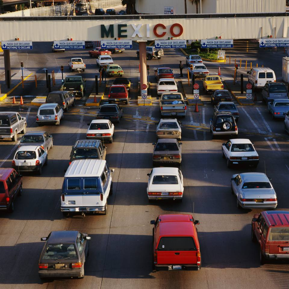 Automobiles at Mexico USA Border Crossing