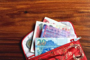 Chinese currency; banknotes and coin in open purse, overhead view