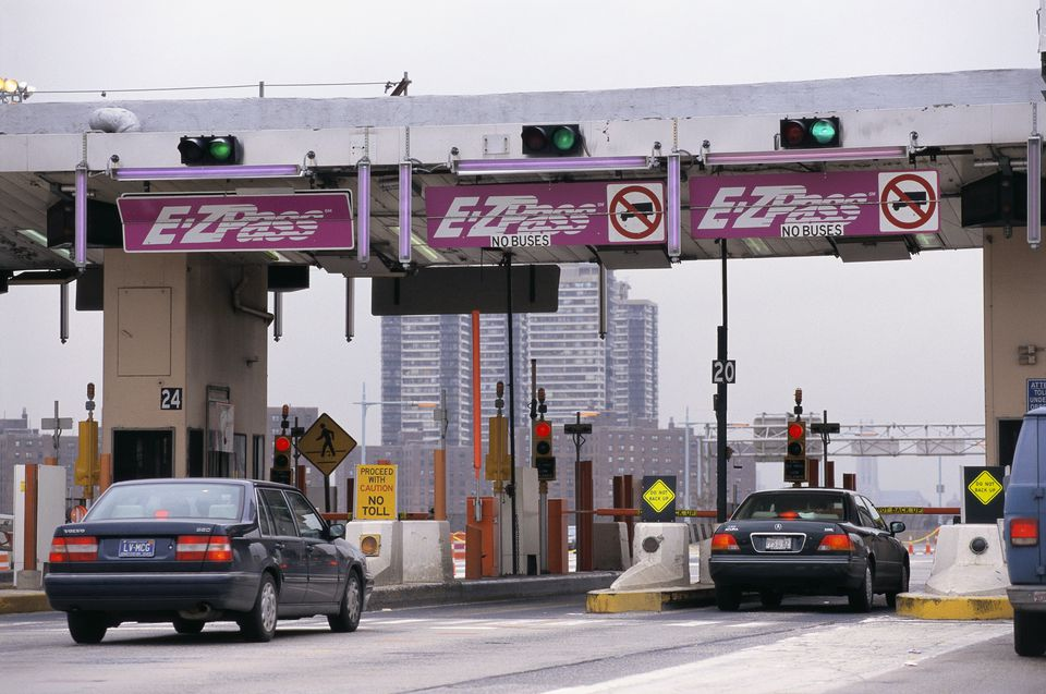 Cars at E-ZPass Tollbooth Lanes