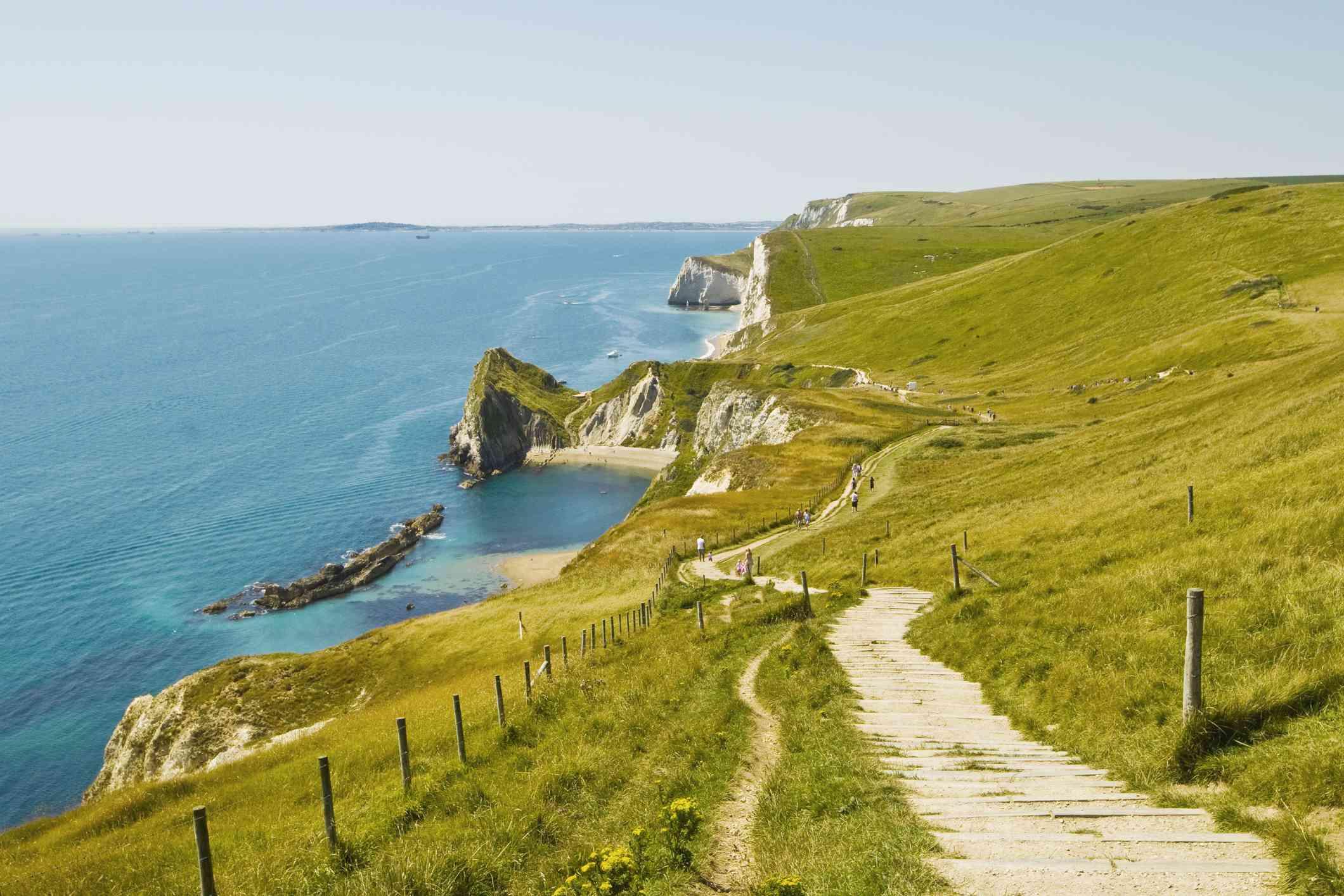 Coastline of Jurassic Coast in Dorset.