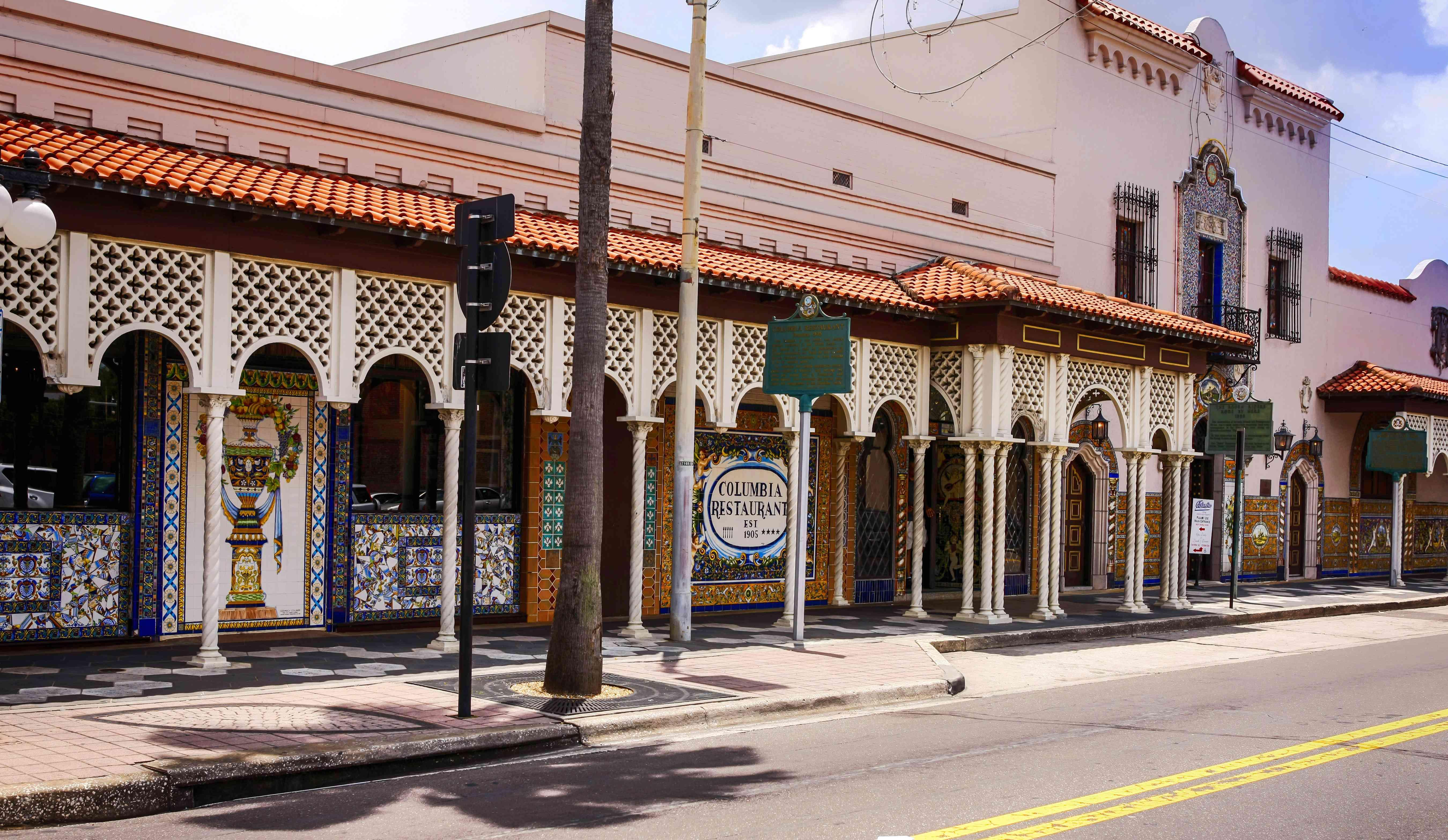 Hispanic style architecture in Ybor City in Tampa Florida, USA