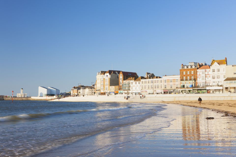 View from beach of Margate, Margate, Kent, England