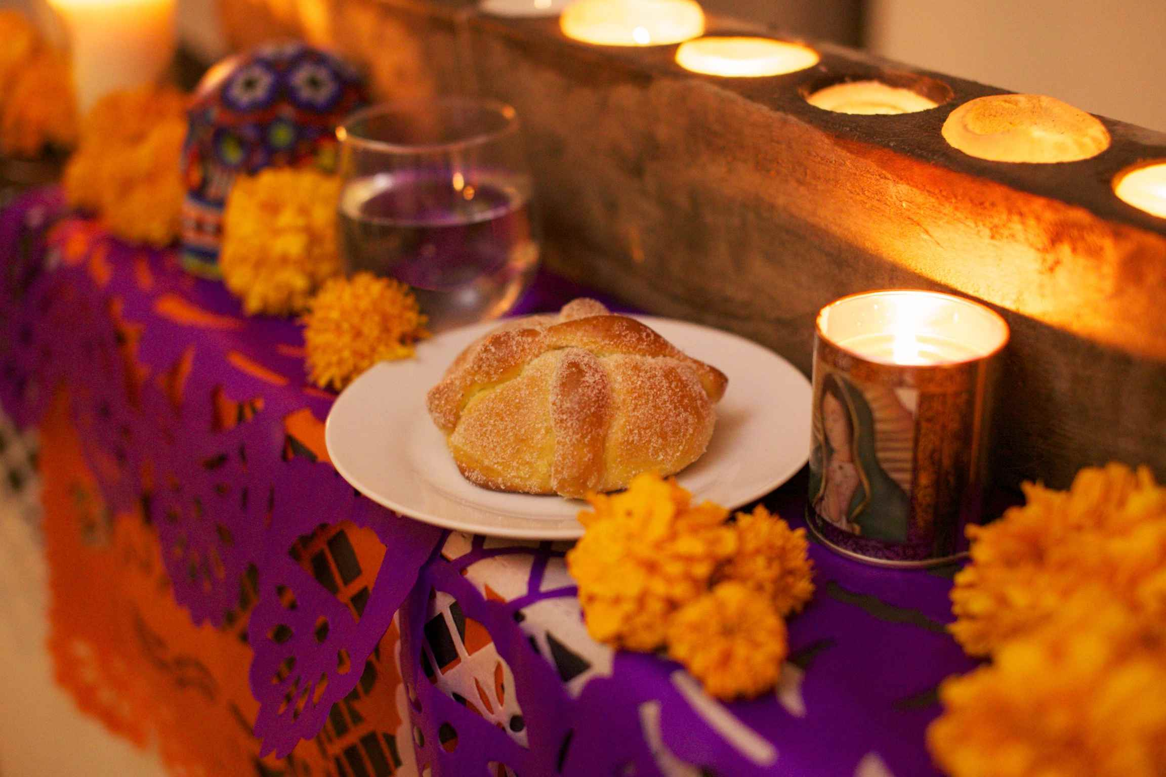 day of the dead bread and decorations - Traditional Mexican Christmas Dinner