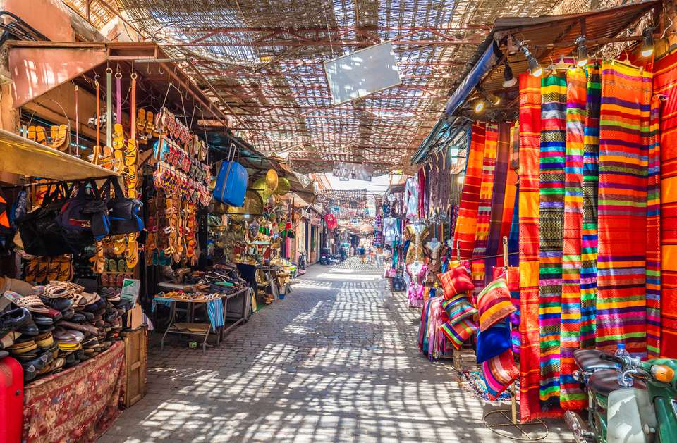 View of the stalls in a Marrakech souk