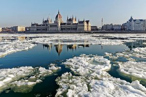 The Danube River is full of drift-ice because of the frosty weather at the Hungarian Parliament on January 11, 2017 in Budapest, Hungary.