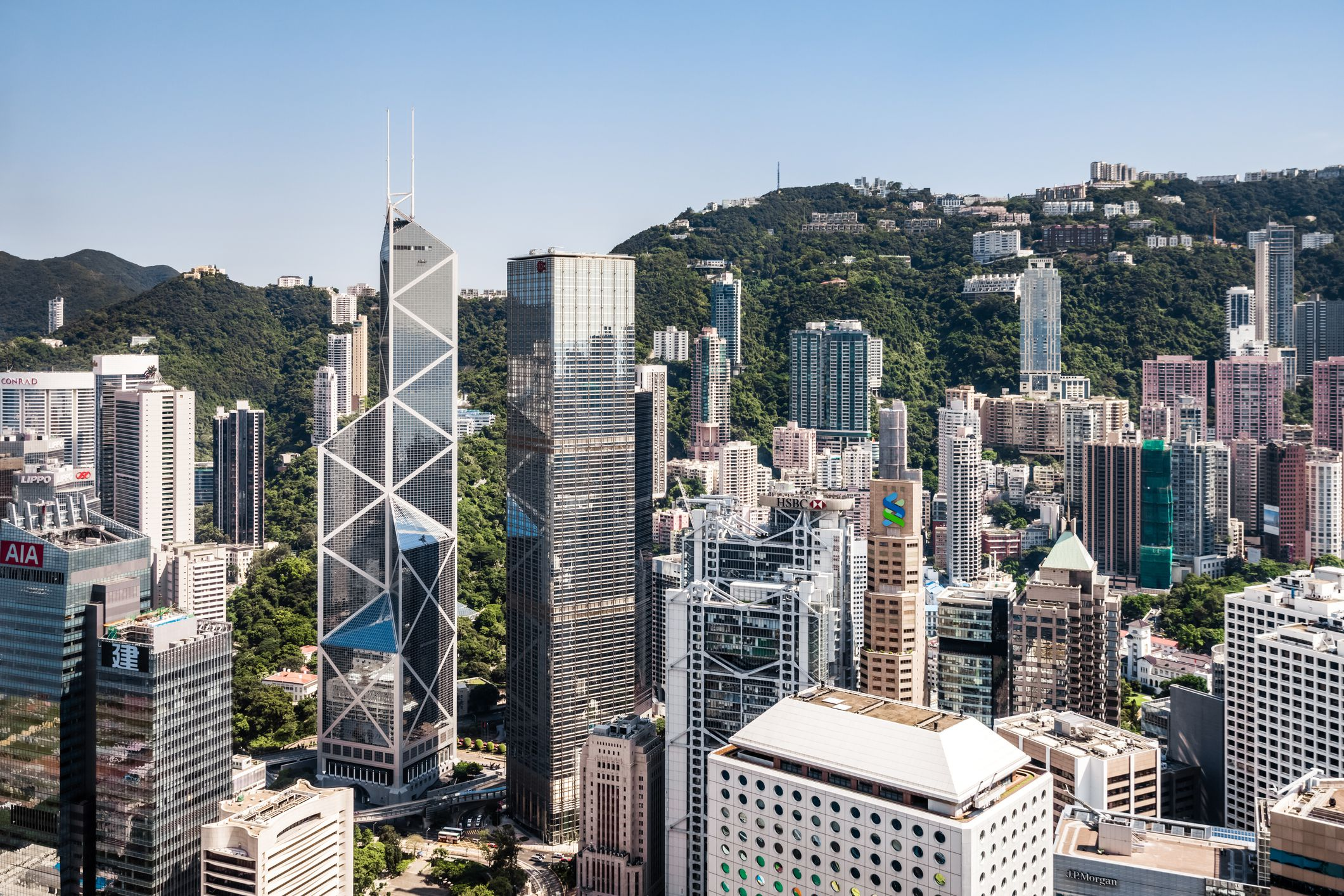 Vista elevada de rascacielos en Hong Kong