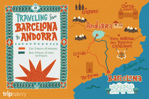 Illustration for travel from Barcelona to Andorra