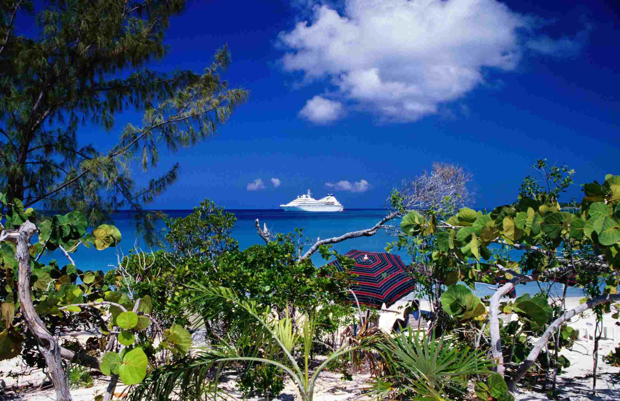 Half Moon Cay, Seabourn Pride cruise ship offshore, Bahamas