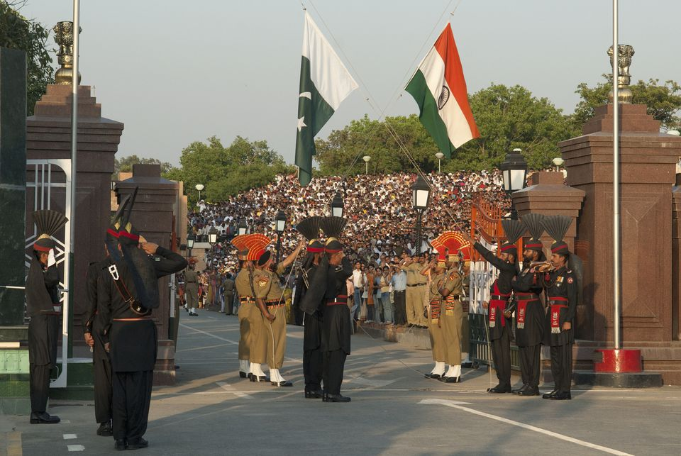 Wagah Border flag lowering.