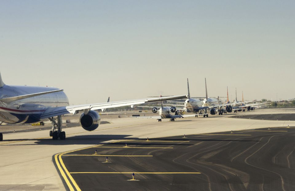 planes on a runway