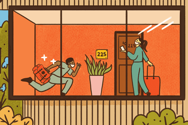 Illustration of a doctor running down a hallway in a hotel