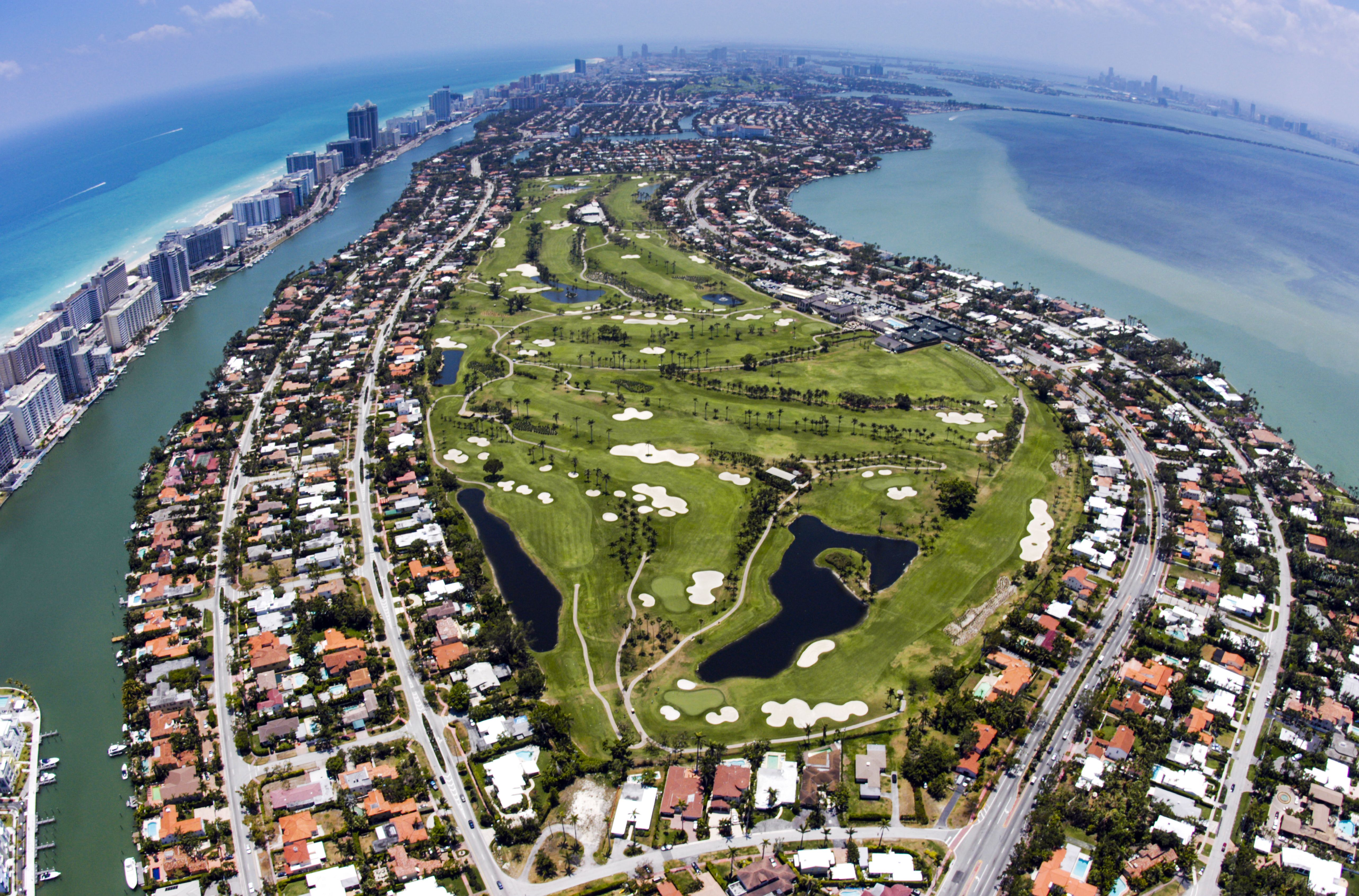 An aerial view of La Gorce Country Club in Miami Beach, Florida