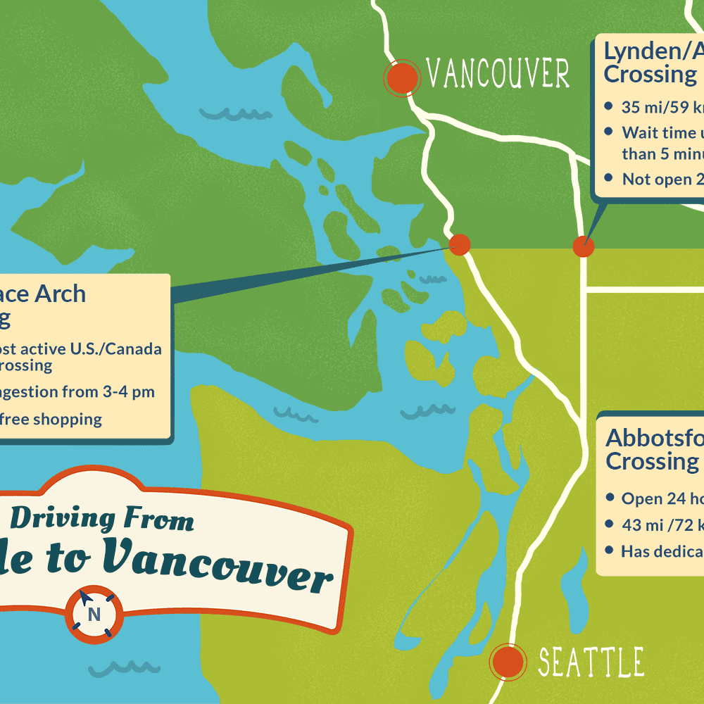 Seattle Canada Map Seattle to Vancouver Canadian Border Crossing