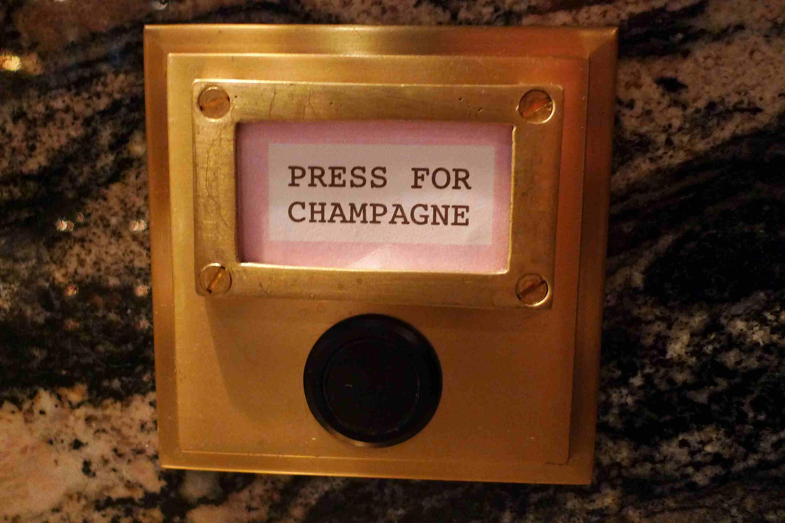 Press for Champagne button found at Bob Bob Ricard in London.