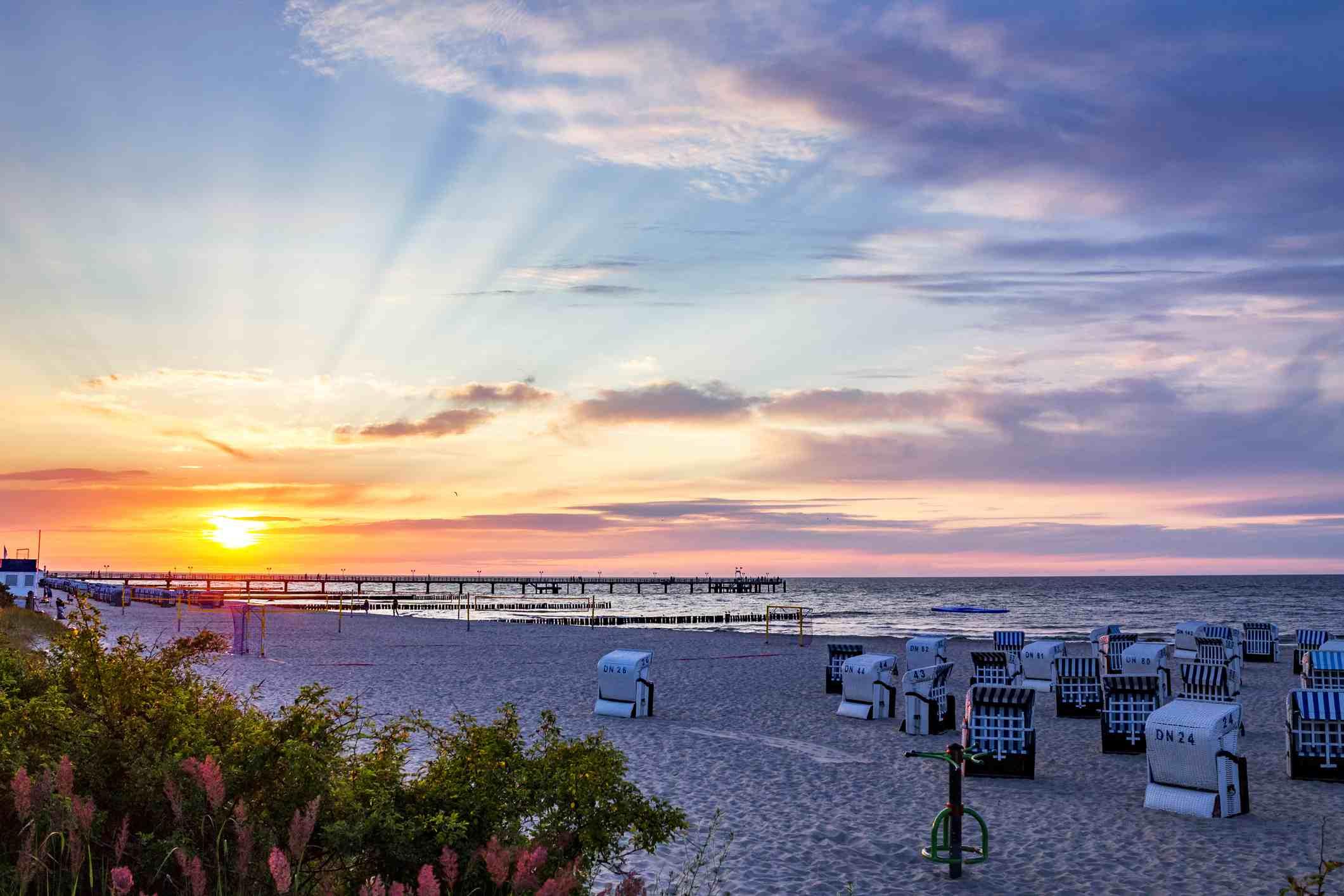 The Mecklenburg-Western Pomerania, a Baltic sea seaside resort Kuehlungsborn at sunset
