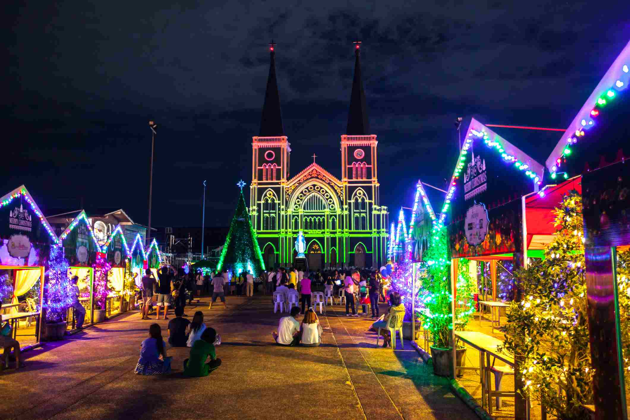 Christmas Stalls with colorful light in front of the Cathedral.