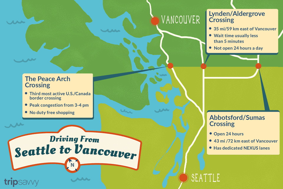 Map Of Canada Line Vancouver.Seattle To Vancouver Canadian Border Crossing