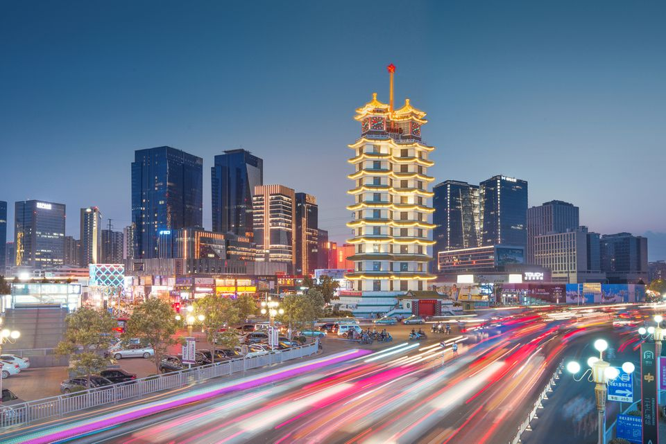 Erqi Squre, City night scene, Zhengzhou