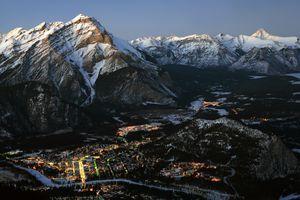 Aerial View of Banff Alberta Canada in Winter