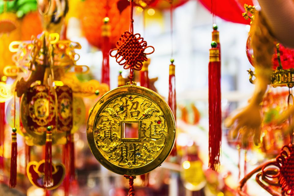 Lucky coin hanging for Chinese New Year in Hong Kong