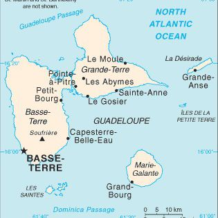 Caribbean Cruise Map of Guadeloupe