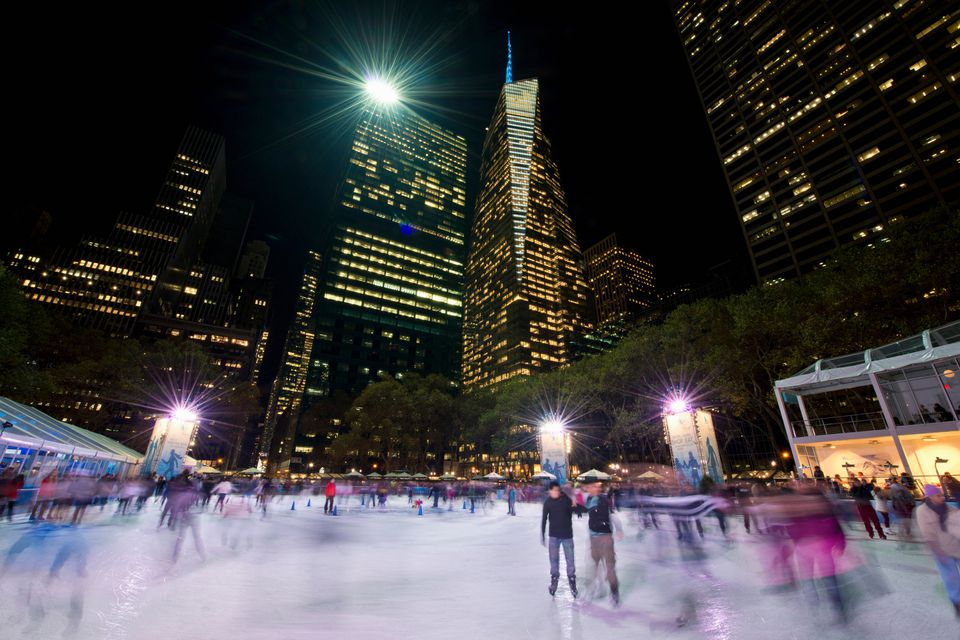 Ice Skating At Bryant Park Manhattan New York City Usa