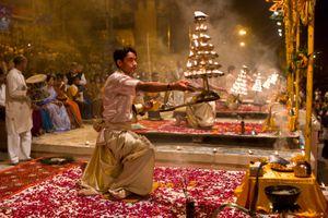 Hindu Ceremony by Ganges, Varanasi, India