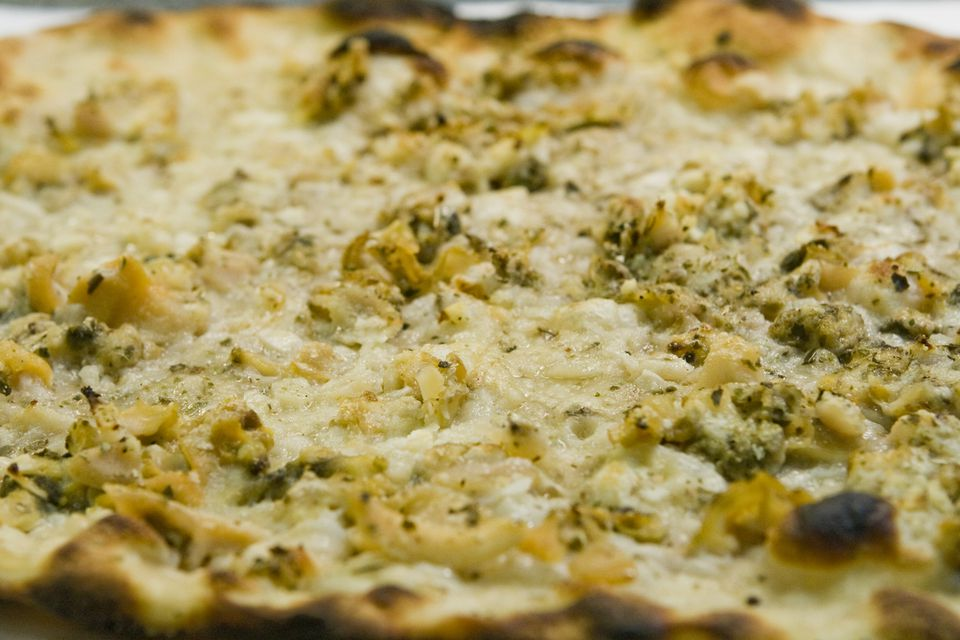 Close-up of clam pizza from Frank Pepe Pizzeria Napoletana