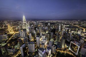 Aerial view of Kuala Lumpur, illuminated at night