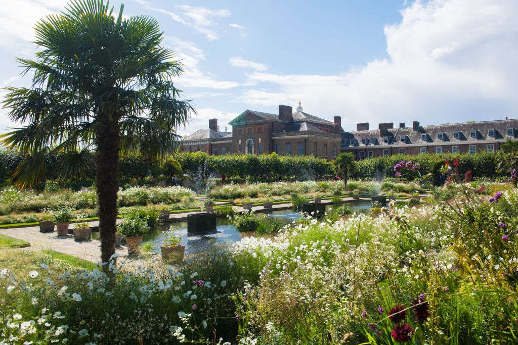 Kensington Palace and the Sunken Garden in London