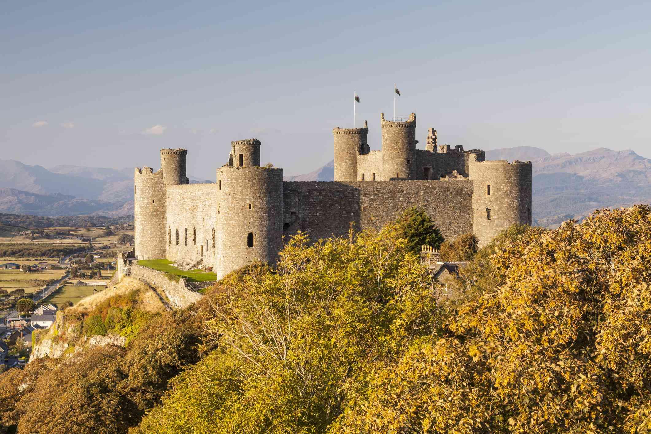 The medieval Harlech Castle in Gwynedd