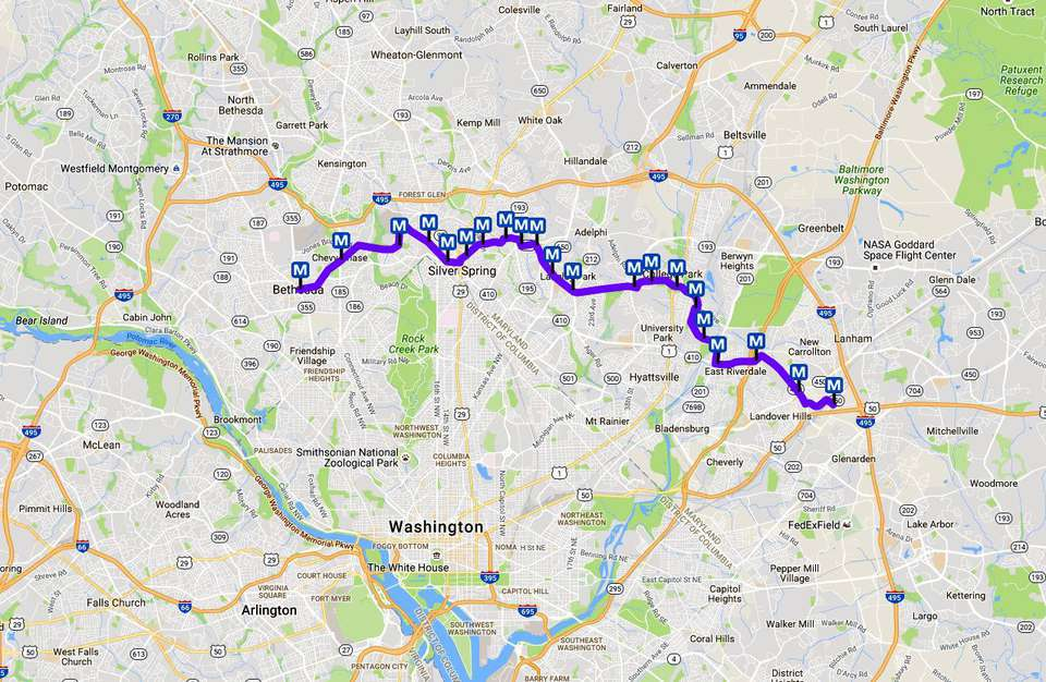 DC Metro Purple Line Map: Light Rail in Maryland on