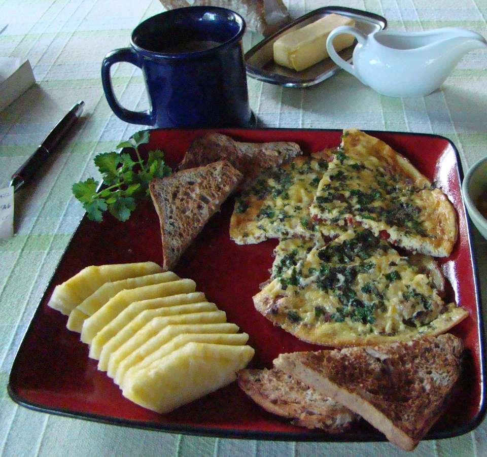 Breakfast omelet with freshly cut pineapple, La Luna Azul B&B, Playas del Coco, Costa Rica