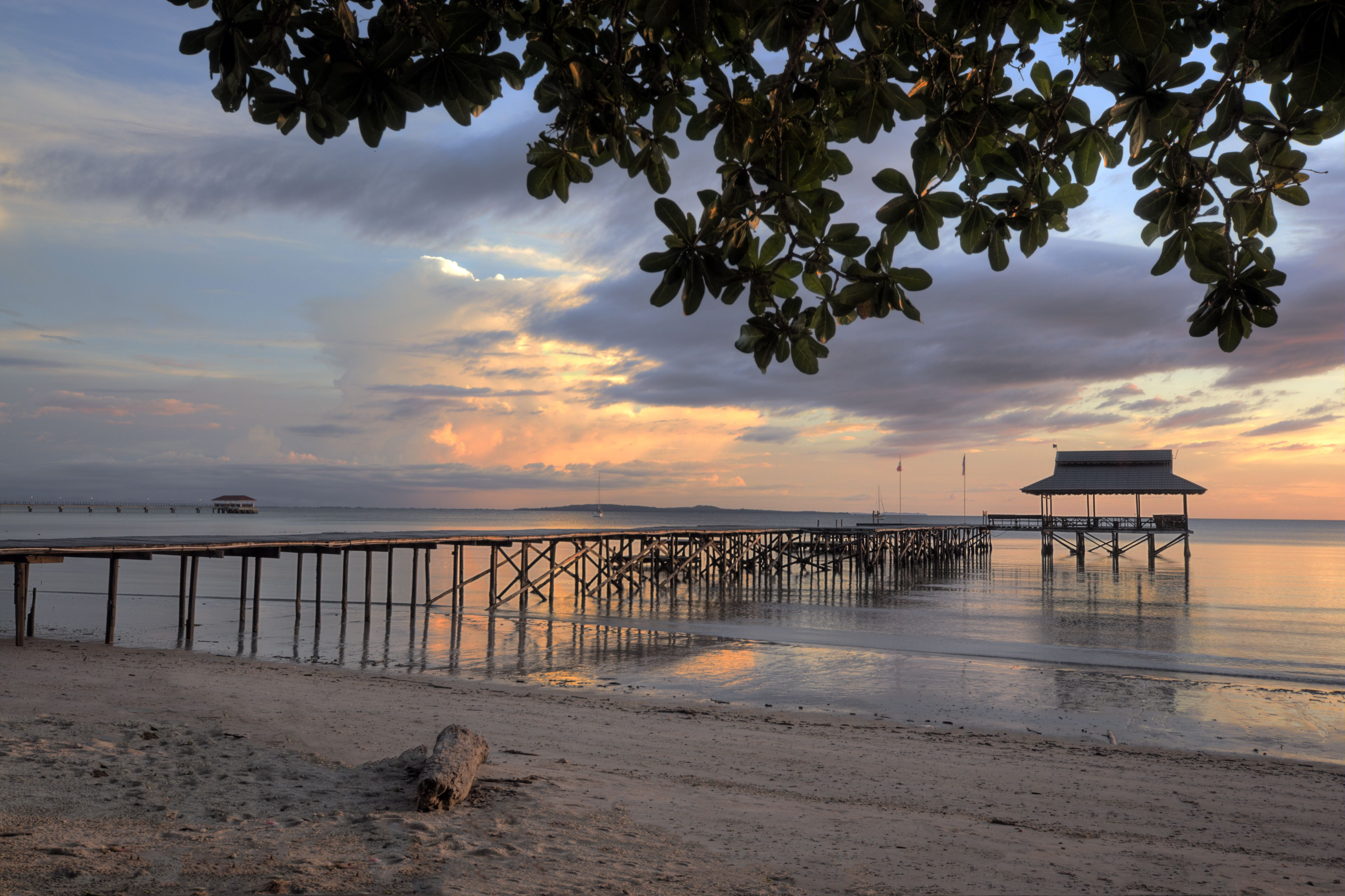Sunset at pier in Borneo, Malaysia