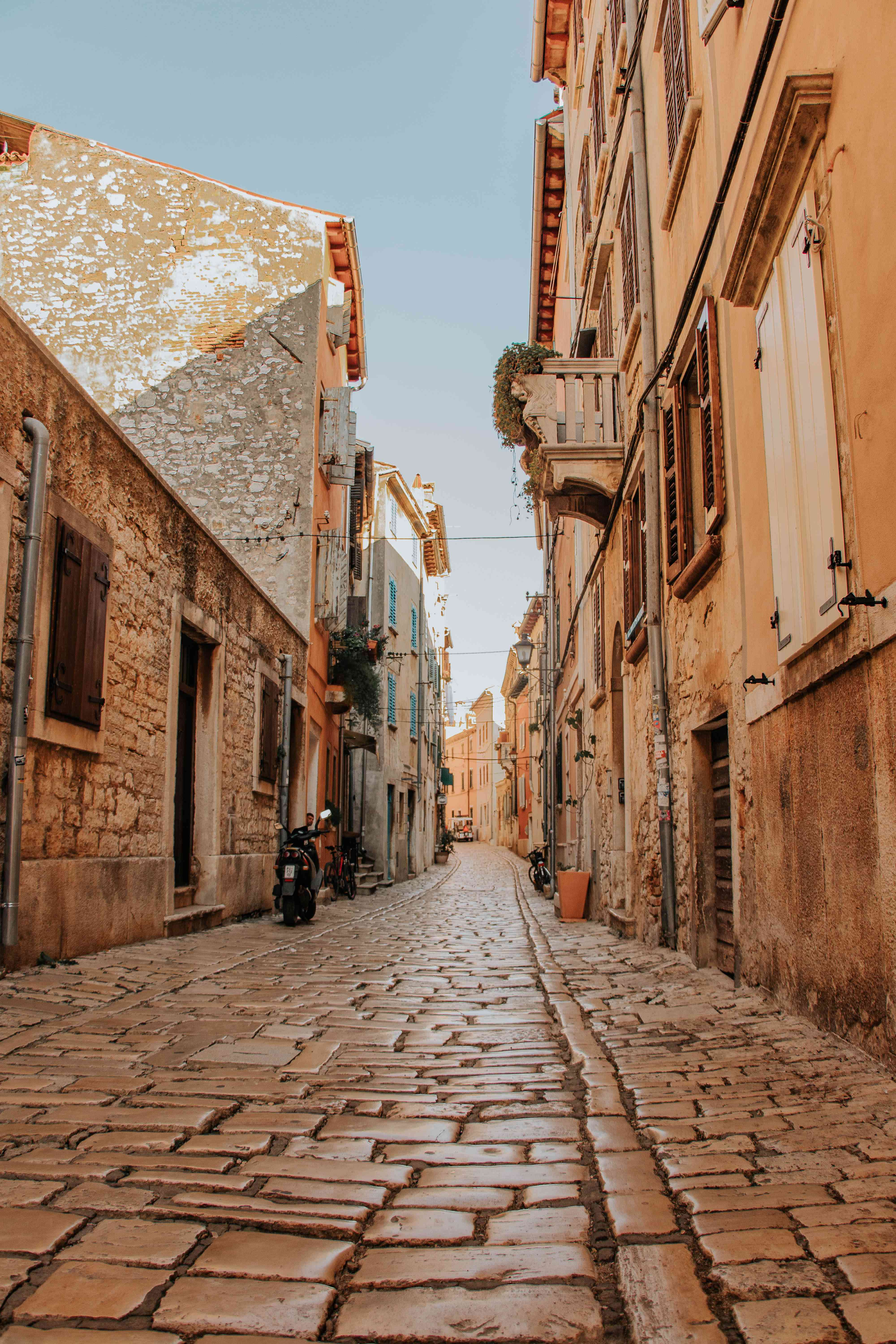 Cobble street in the old town of Rovinj