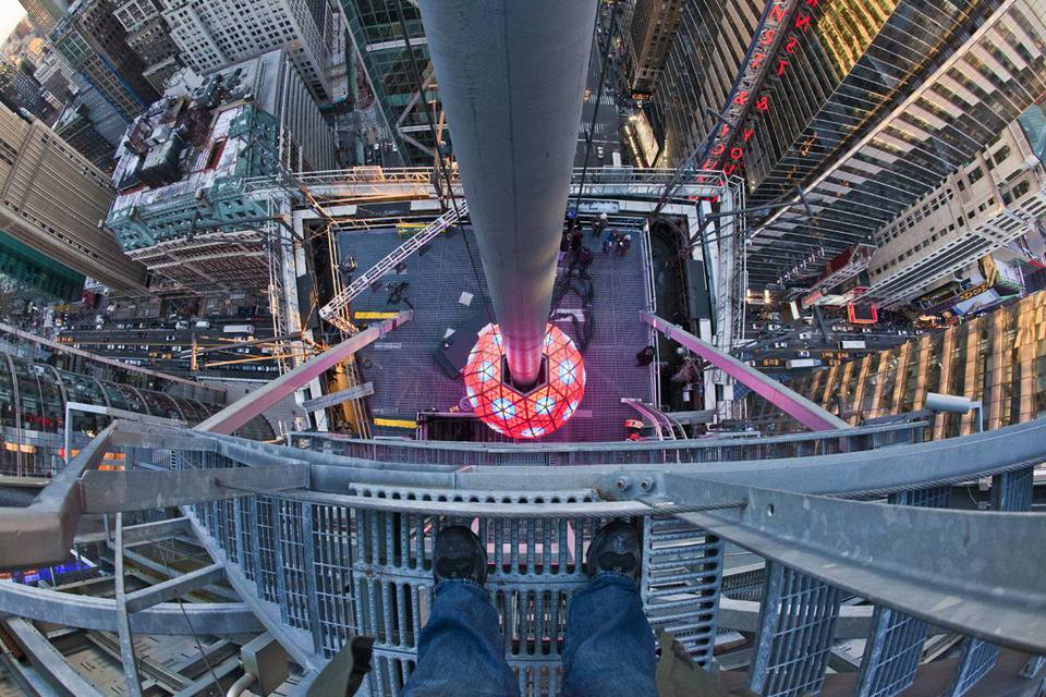 """Times Square Ball from above While assisting in setting up a robotic camera just above the 3 in """"2013"""" this is what it looked like when I looked down."""