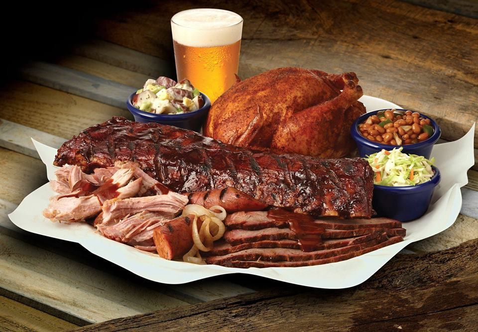 Ribs, chicken, beans coleslaw and Beer