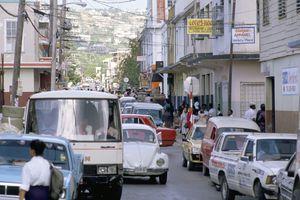 Traffic in town street, Montego Bay, Jamaica