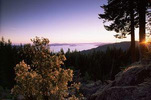 San Juan Islands seen from Chuckanut Drive, Puget Sound, Washington State, United States of America, North America