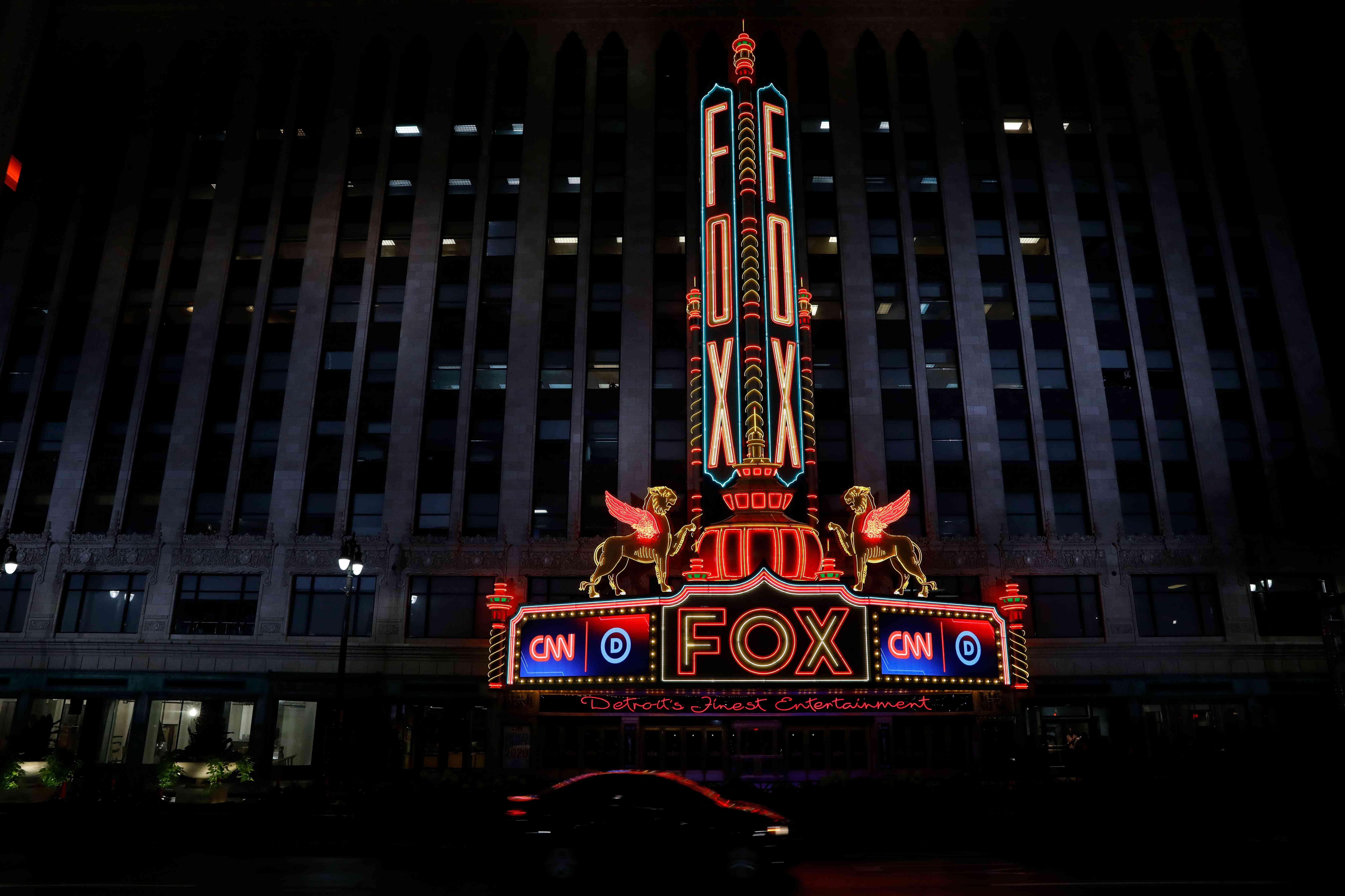 Detroit Fox Theatre at night